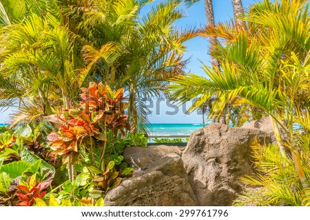 Beach and ocean scenic for vacations and summer getaways - stock photo