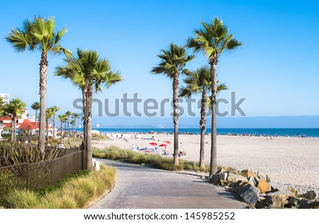 Beach and Palm Trees in San Diego, Southern California Coast, USA - stock photo
