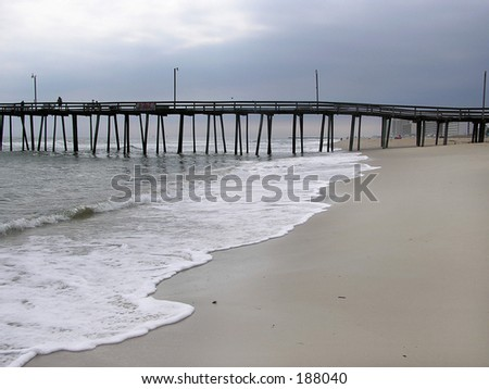 Beach and Pier - stock photo