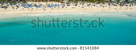 Beach and sand at the dominican republic. Taken from above. - stock photo