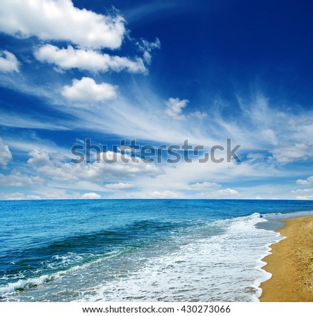 beach and sea on sky - stock photo