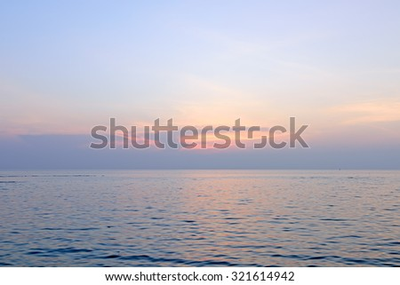 Beach and sky sunset background - stock photo