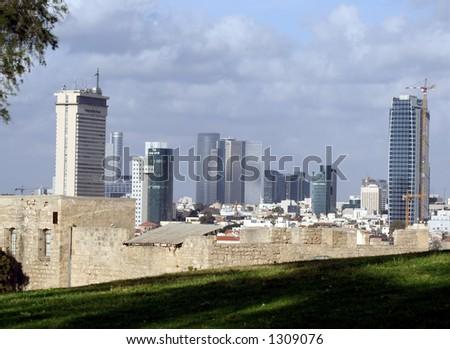 Beach and skyline of Tel-aviv, Israel - stock photo