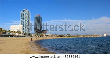 beach and tower houses in barcelona