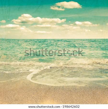 beach and tropical sea. Grunge style photo.   - stock photo