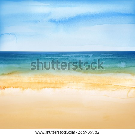 beach and tropical sea watercolors painting - stock photo