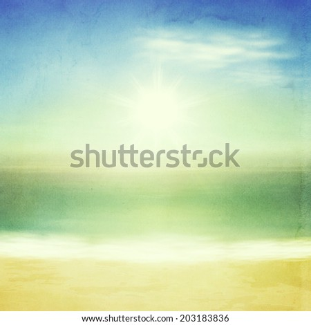 Beach and tropical sea with bright sun. Retro style with old textured paper. - stock photo