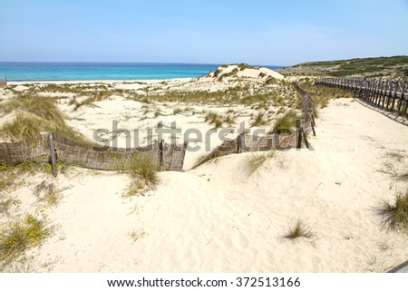 Beach and view of beautiful sea, Cala Mesquida, Majorca island, Spain - stock photo