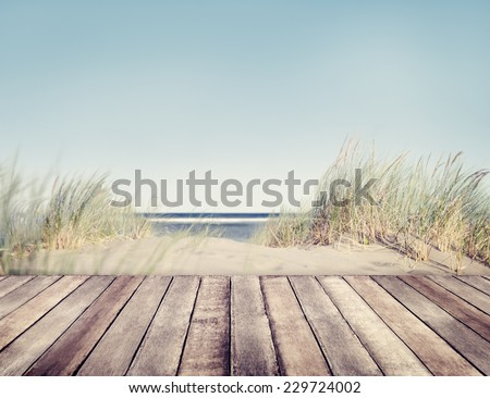 Beach and Wooden Plank - stock photo