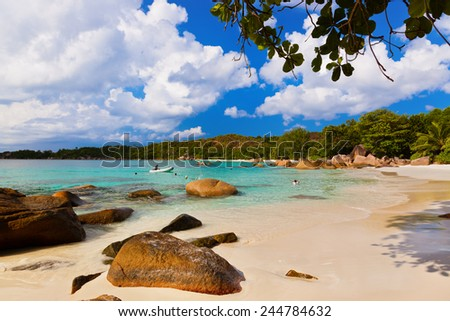 Beach Anse Lazio at island Praslin Seychelles - nature background - stock photo