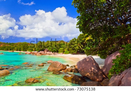 Beach Anse Lazio at island Praslin, Seychelles - nature background - stock photo