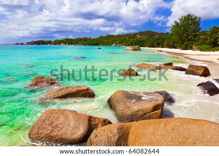Beach Anse Lazio at island Praslin, Seychelles - vacation background - stock photo