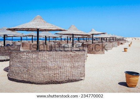 Beach at a luxury typical unrecognizable 5 star hotel in Egypt, Africa. Holiday resort in Egypt. sharm el sheikh. hurgada.