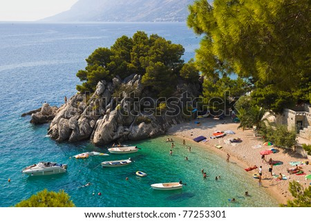 Beach at Brela, Croatia - resort travel background - stock photo