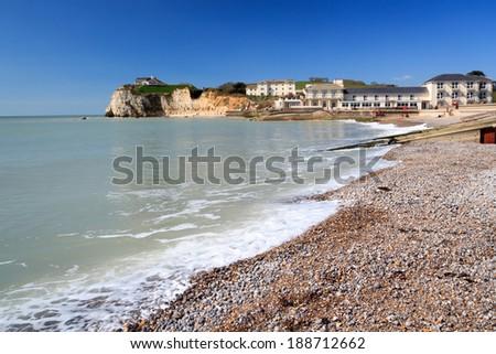 Beach at Freshwater Bay on the Isle Of Wight England UK Europe - stock photo