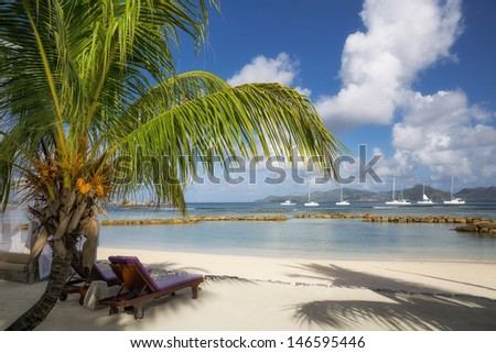 Beach at La Digue, Seychelles.