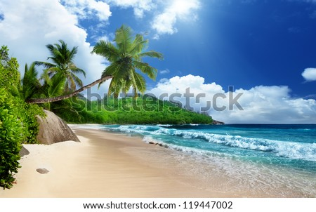 beach at Mahe island,  Seychelles - stock photo