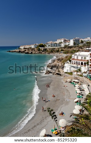 Beach at Nerja looking south, Malaga Province, Andalusia, Spain