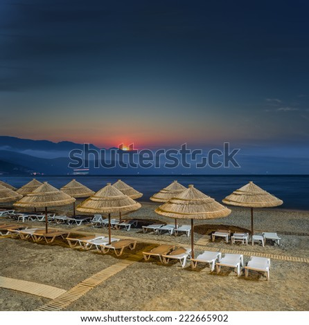 beach at night / early morning photo was taken ashore on a beach sunrise background