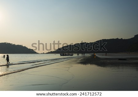 beach at sunset, in south Goa - India - stock photo