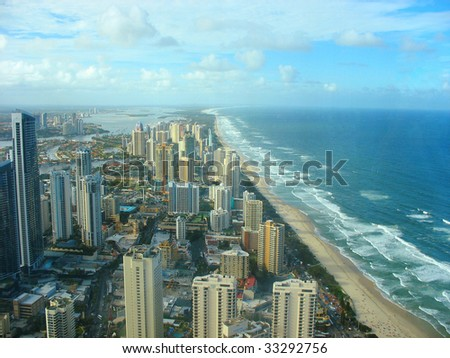 Beach at Surfers Paradise in Gold Coast, Australia - stock photo