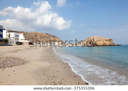 Beach at the Omani fishing village Qantab. Sultanate of Oman, Middle East