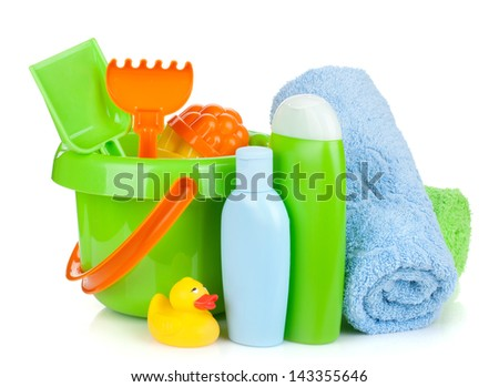 Beach baby toys, towels and bottles. Isolated on white background