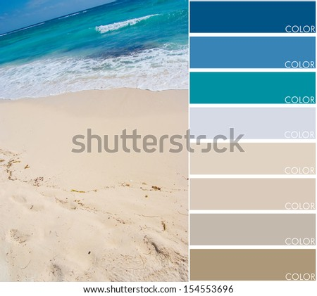 Beach background with color swatch - stock photo