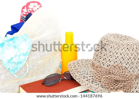 Beach bag with beach equipment