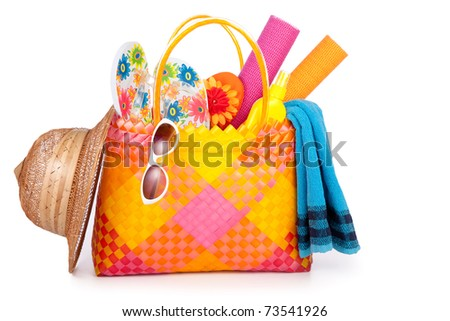 beach bag with towel sunglasses flip-flops and hat.isolated on white - stock photo