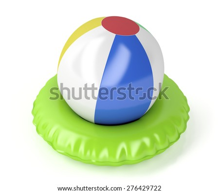 Beach ball and swim ring on white background - stock photo