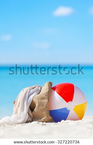 beach ball, beach bag and scarf - vacation concept - stock photo