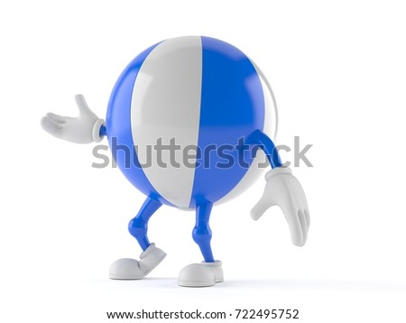 Beach ball character isolated on white background. 3d illustration