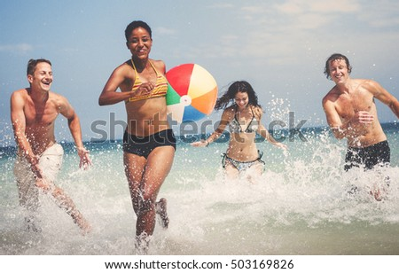 Beach Ball Cheerful Enjoyment Friends Summer Concept