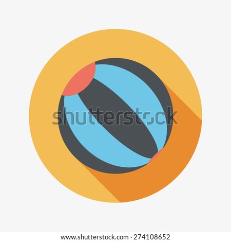 Beach ball flat icon with long shadow - stock photo