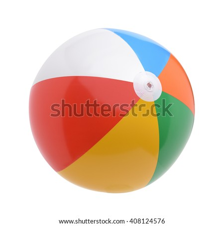 Beach ball isolated on a white background - stock photo
