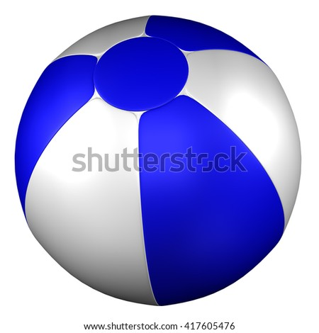 Beach Ball, isolated on white background. 3D rendering.