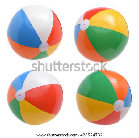Beach balls collection isolated on white background - stock photo