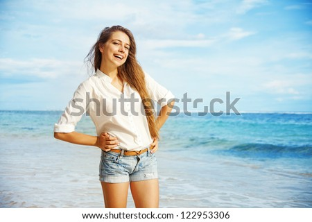 Beach, beautiful woman - stock photo