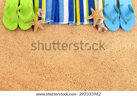 Beach Border Summer Frame Flip Flops Stock Photo & Image (Royalty ...