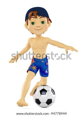 beach boy playing football - stock photo