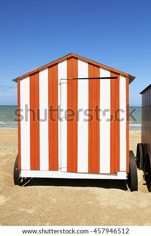 Beach cabin at the Northsea, De Panne, Belgium