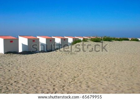 Beach cabins at the Belgian coast