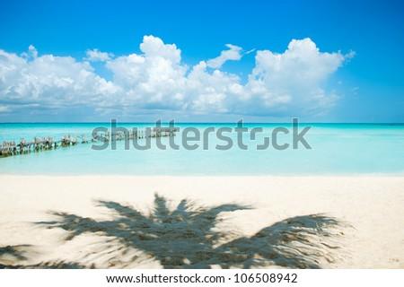 Beach. Caribbean Beach.Mexico.Paradise Island.Vacation and Tourism concept. - stock photo