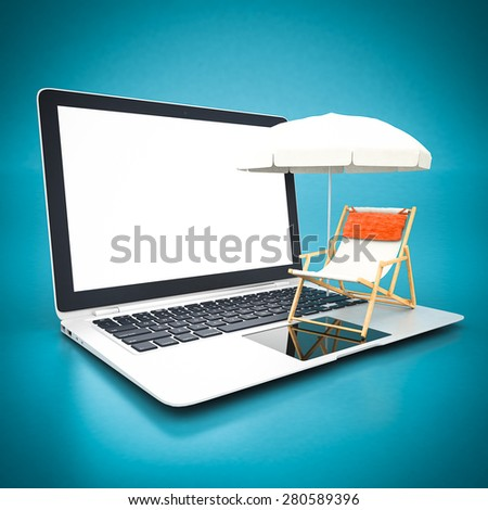 Beach chair and umbrella and white laptop on a blue background - stock photo