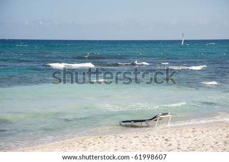 Beach chair in the ocean
