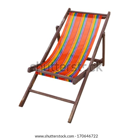 Beach chair isolated on white background - stock photo