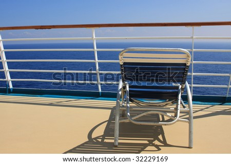 Beach chair on cruise ship deck
