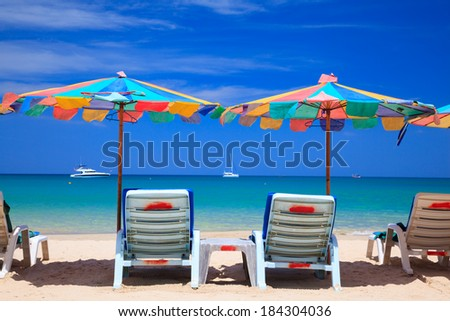 Beach chair on the beach, Phuket, Southern of Thailand