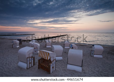Beach Chairs at Baltic Sea beach in the evening.